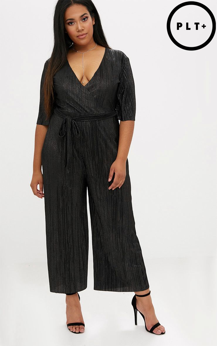 Black t shirt playsuit - Plus Black Metallic Plunge Jumpsuit
