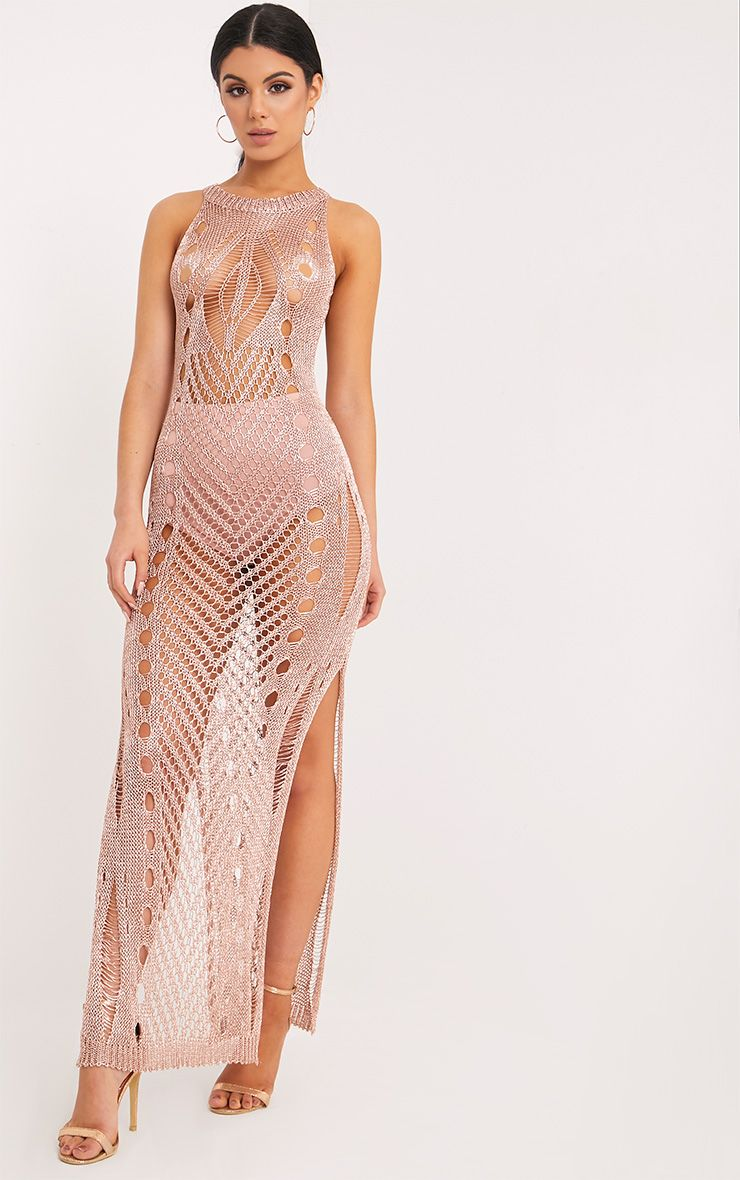 Donatella Rose Gold Metallic Pointelle Knit Maxi Dress