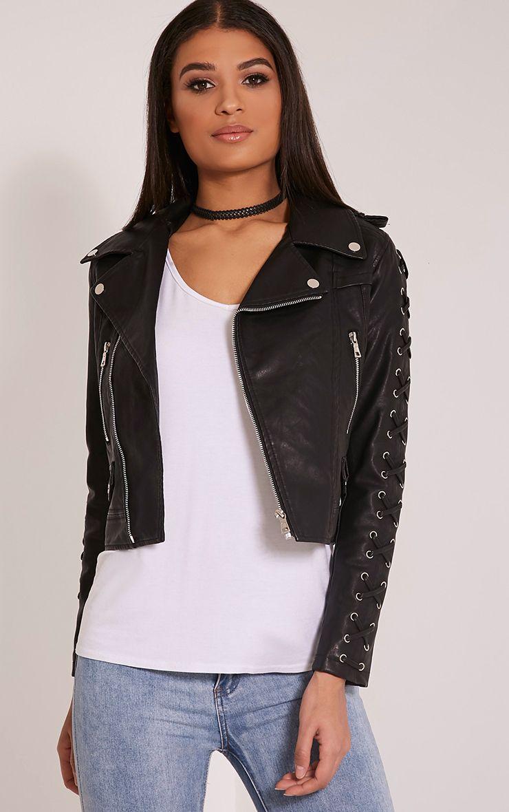 Clara Black Faux Leather Cross Detail Biker Jacket 1