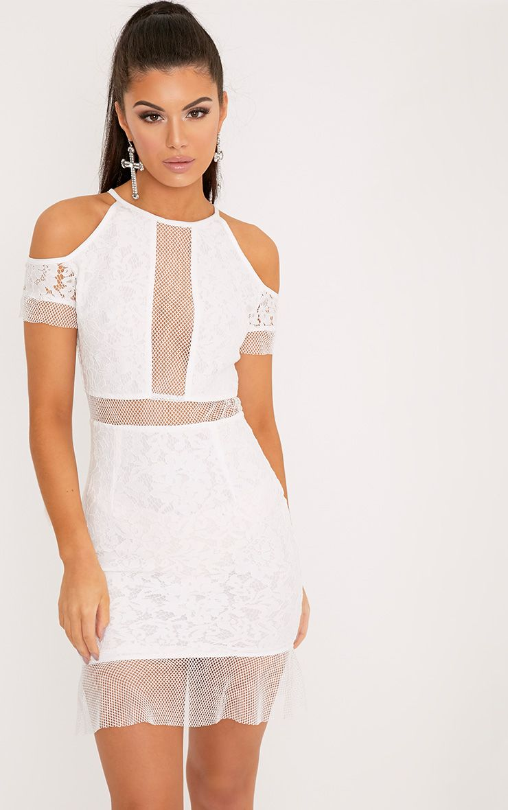 Vivien White Lace Cold Shoulder Frill Hem Bodycon Dress