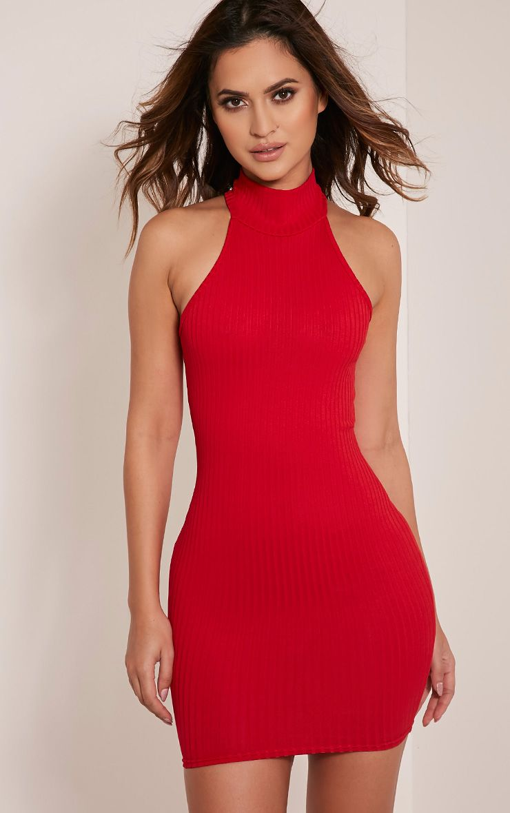 Pearla Red Racer Neck Ribbed Bodycon Dress 1
