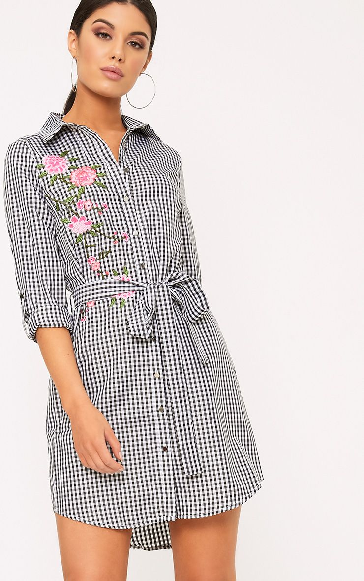 Ganayarr Black Gingham Embroidered Shirt Dress