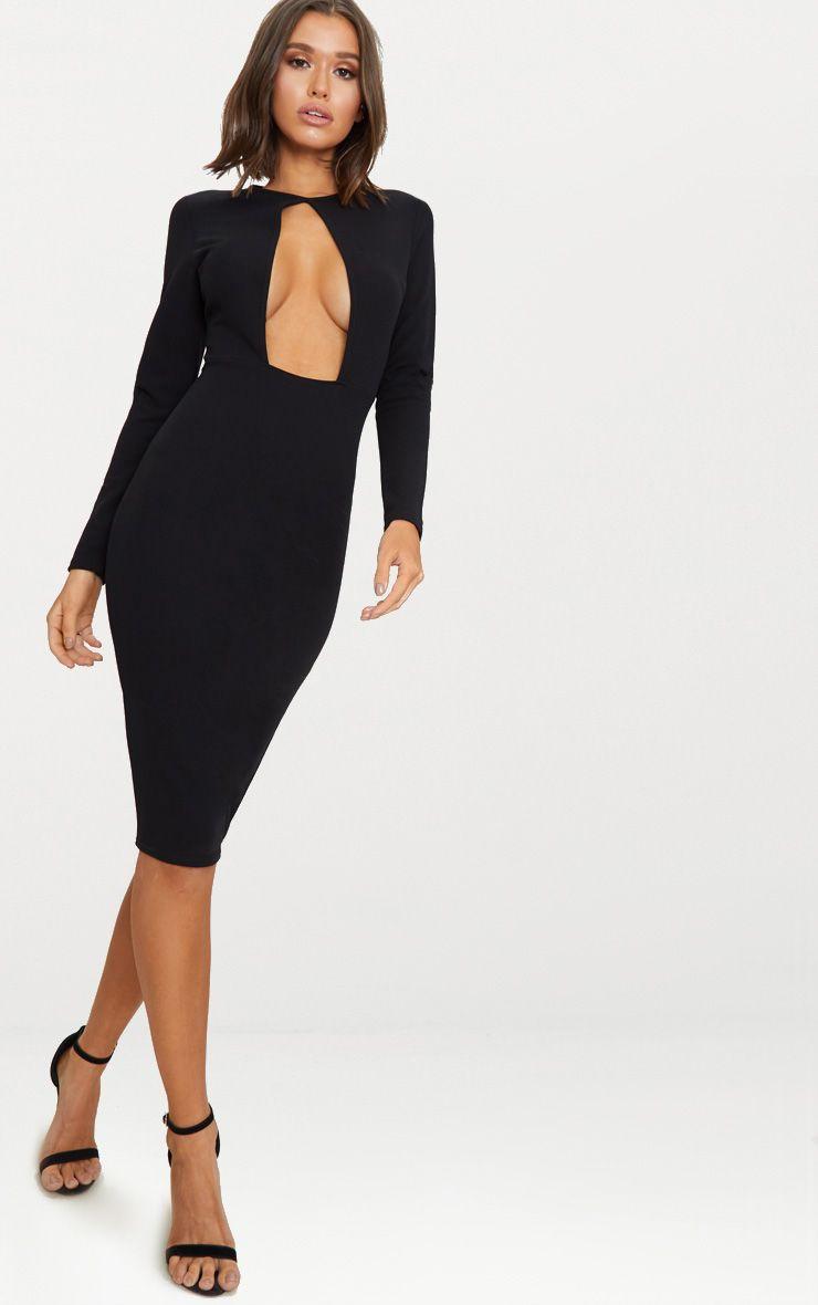 Black Cut Out Detail 3/4 Sleeve Midi Dress