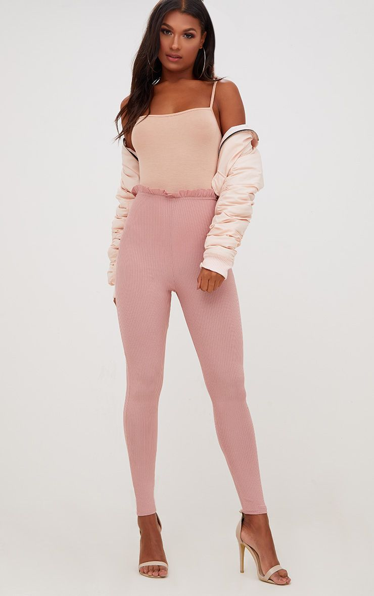 Light Pink Ribbed Shimmer Paperbag Leggings