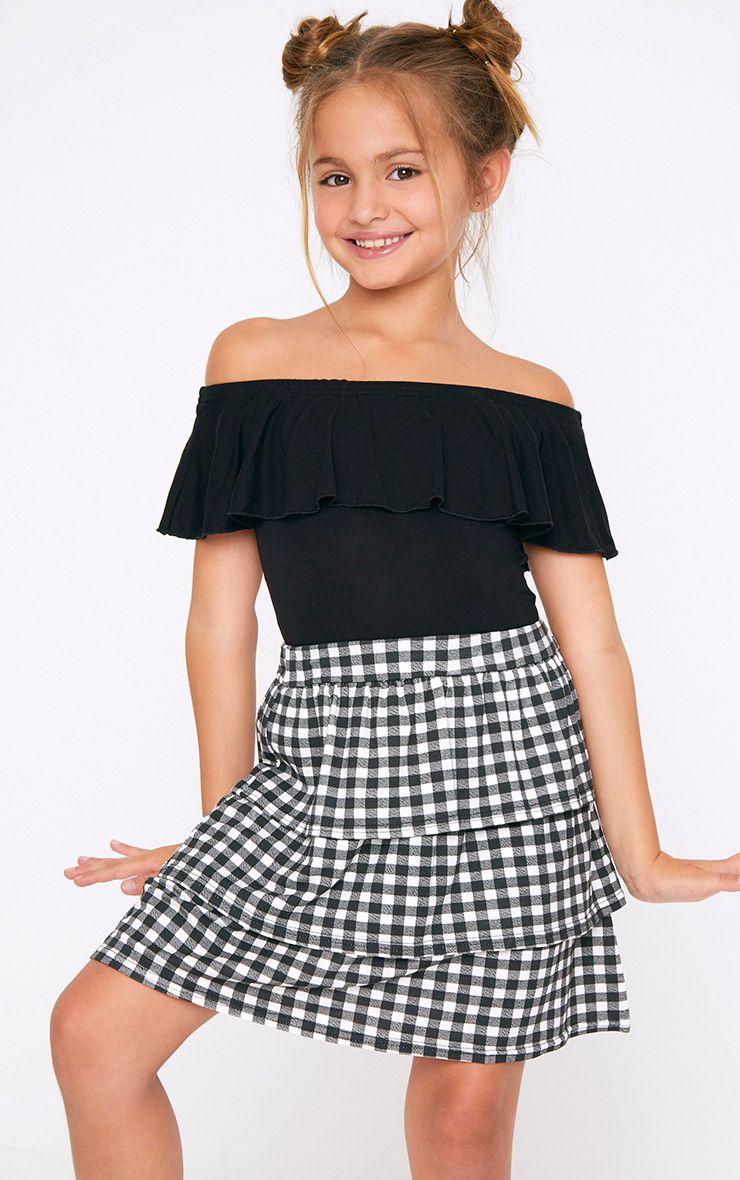 Frill Bardot Black Bodysuit