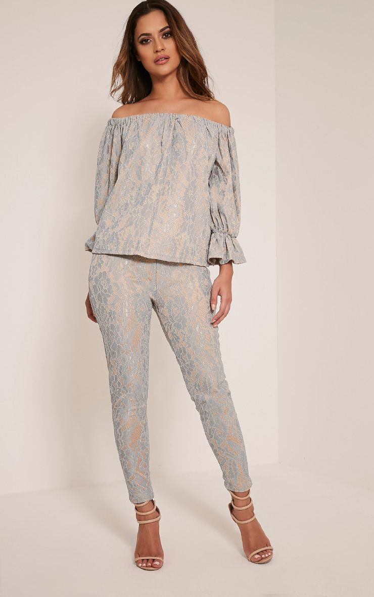 Arlia Dusty Blue Lace Cigarette Trousers