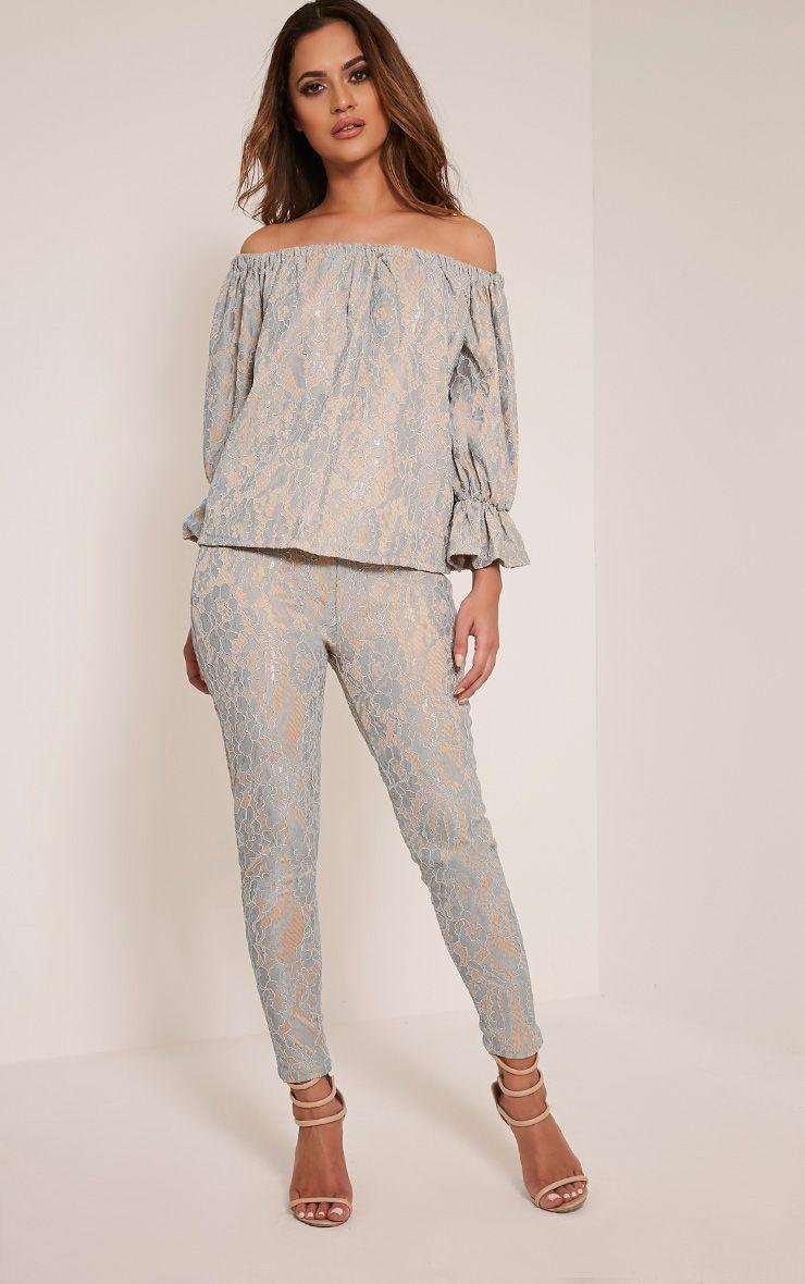 Arlia Dusty Blue Lace Cigarette Trousers 1