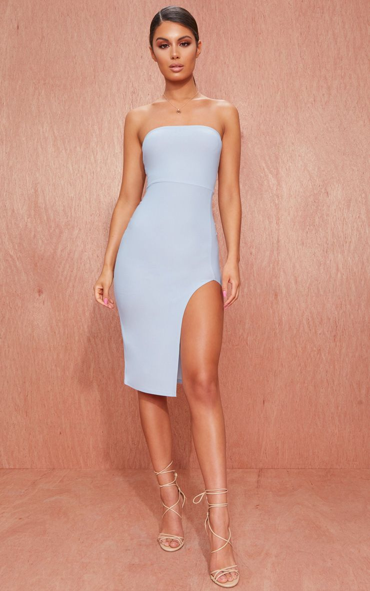 Dusty Blue Crepe Bandeau Split Front Midi Dress