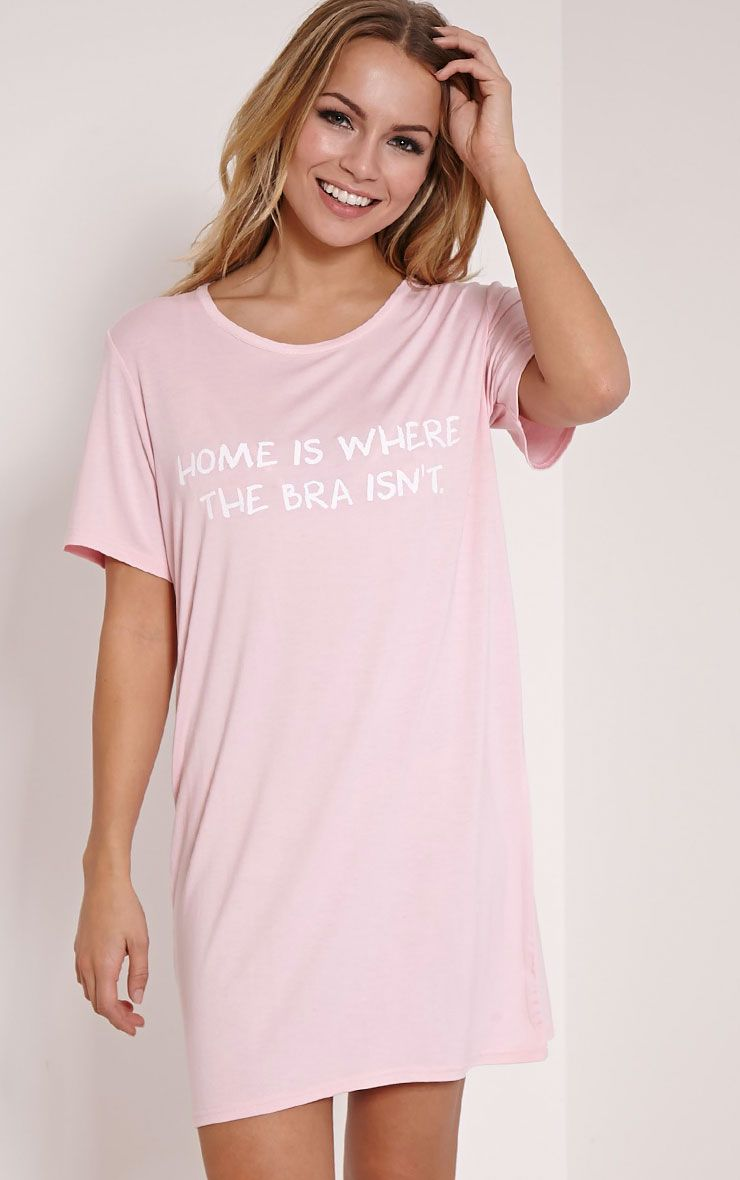 Home Is Where The Bra Isn't Pink Oversized Nightshirt 1