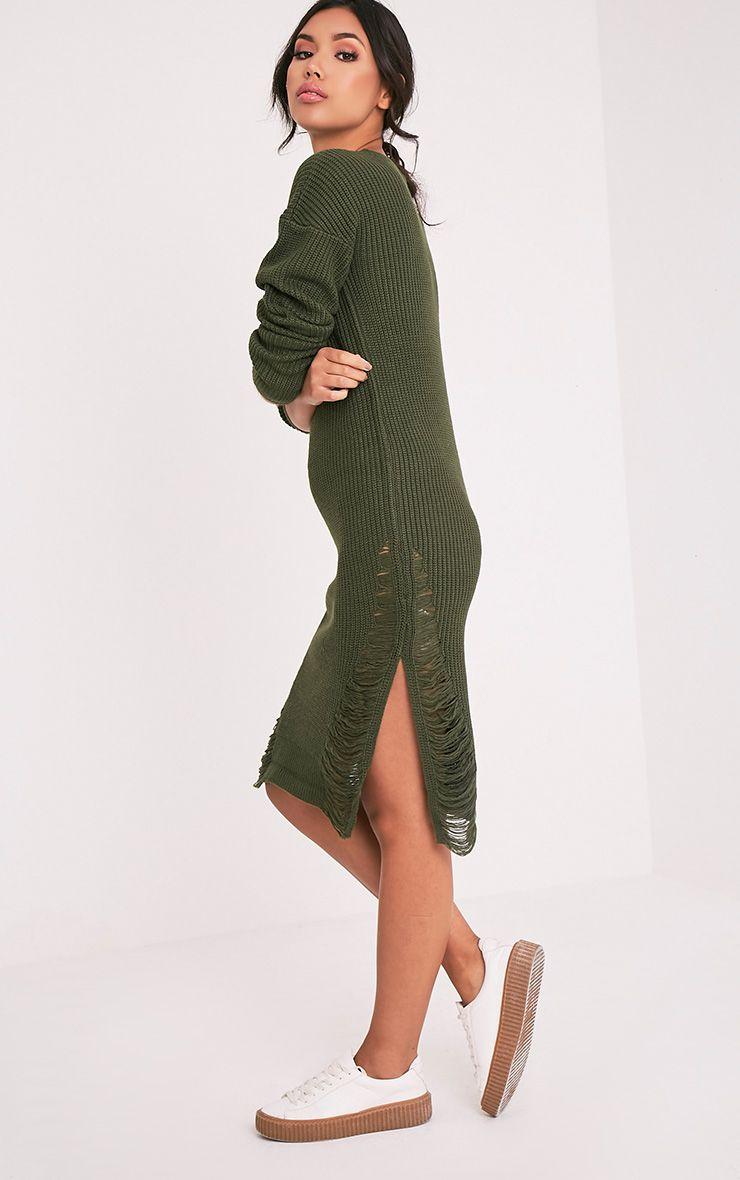 Kionae robe tricotée surdimensionnée effilochée kaki 6
