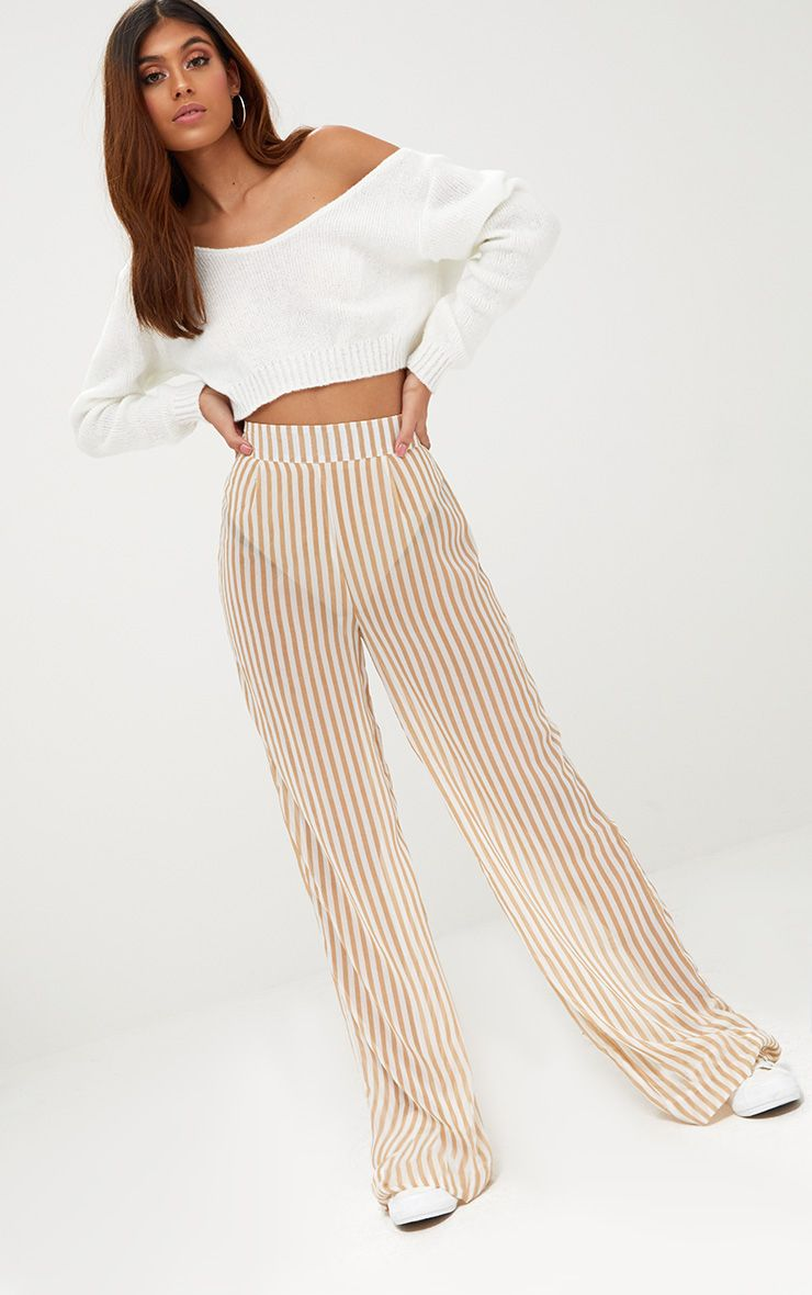 Stone Sheer Stripe Wide Leg Trousers