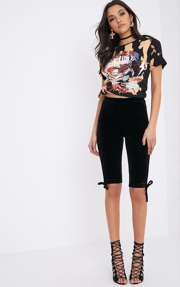 Armide Black Velvet Ruched Cycle Shorts