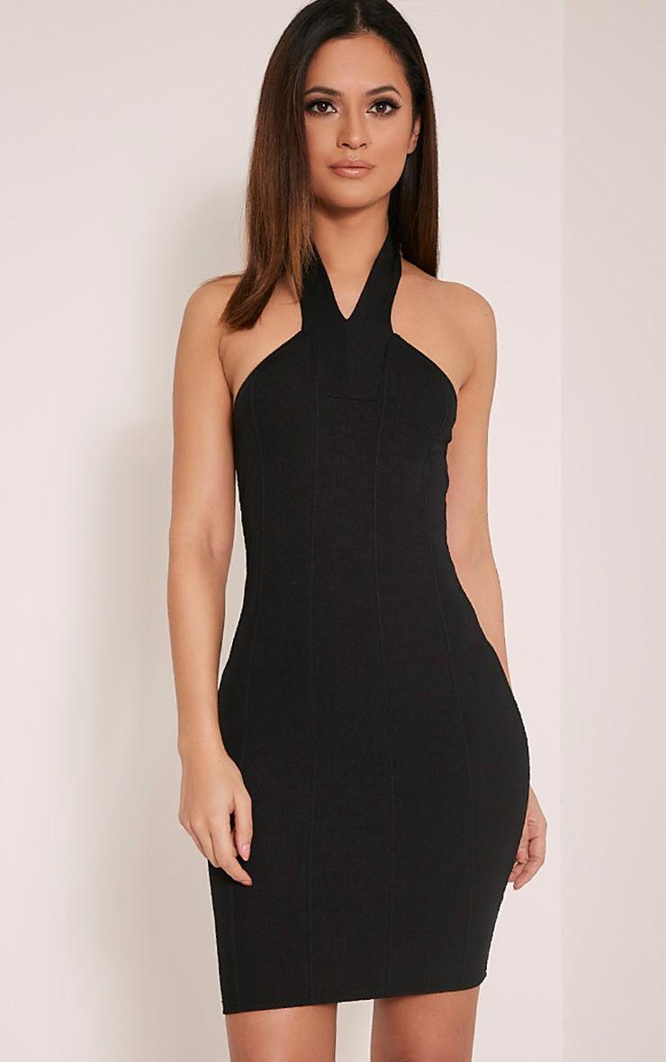 Chessie Black Halterneck Bandage Bodycon Dress 1