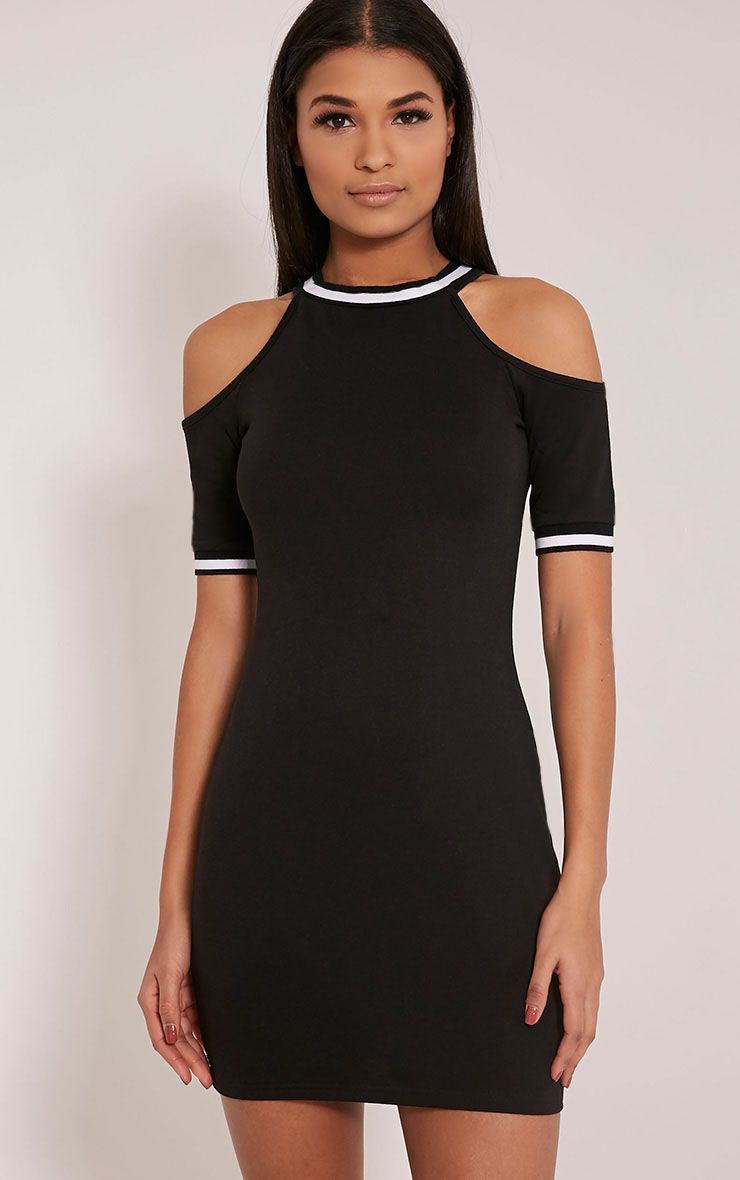 Tarla Black Cold Shoulder Sports Rib Bodycon Dress 1