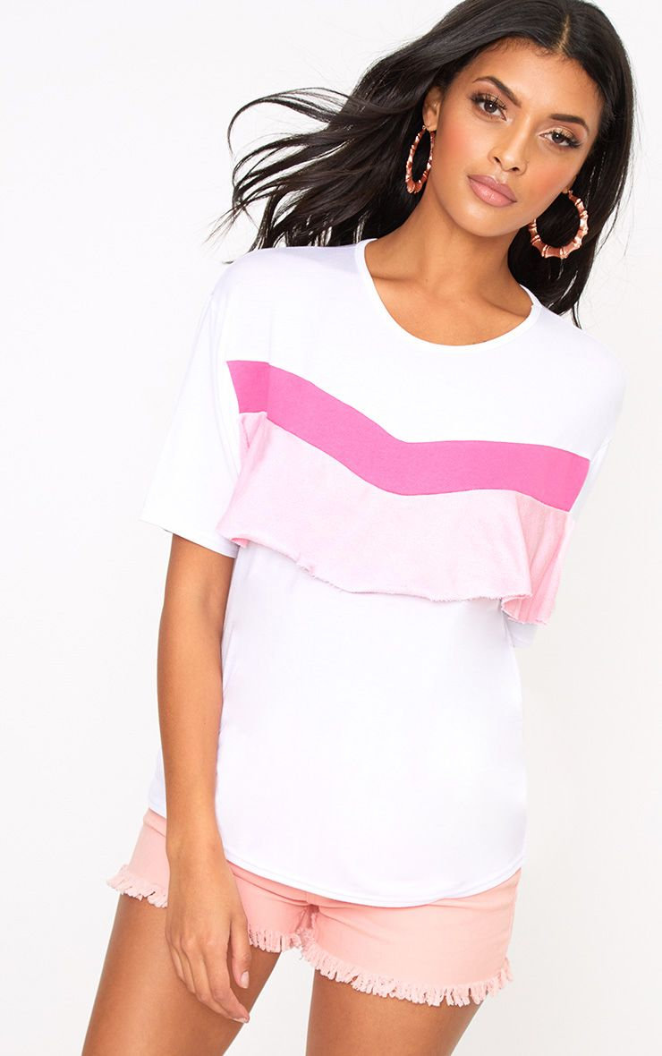 Pink Colour Block Frill T Shirt
