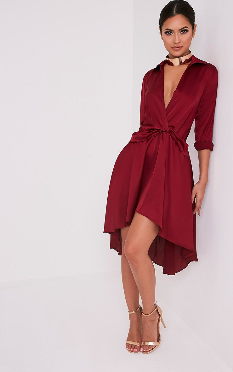 Gabbie Burgundy Silky Wrap Over Midi Dress  5