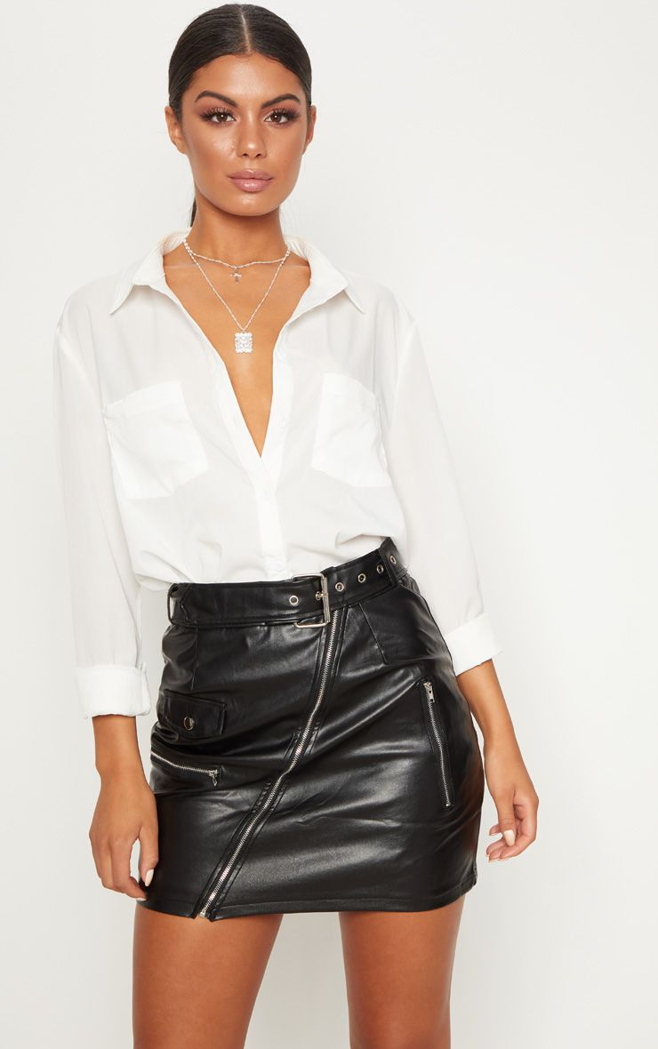 Black Faux Leather Biker Belted Mini Skirt