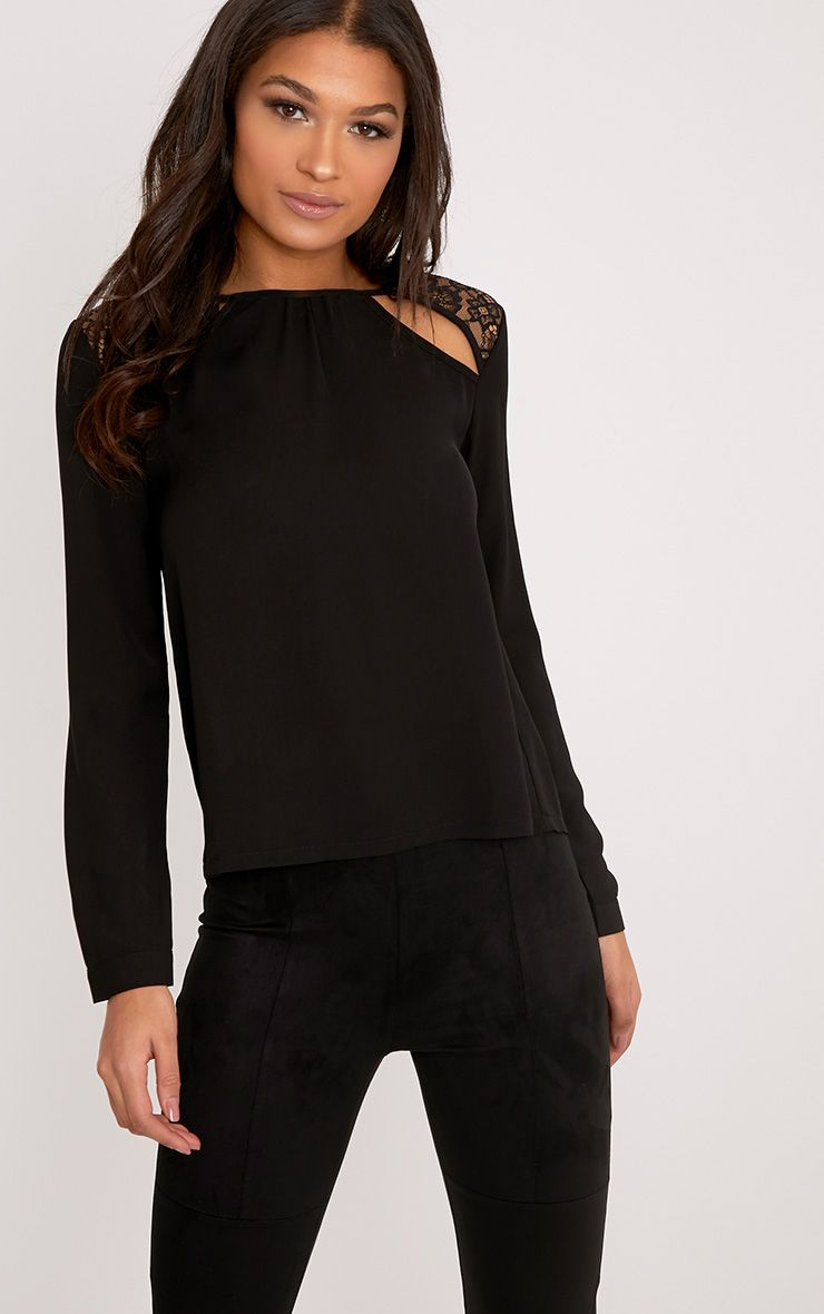 Bryony Black Lace Cut Out Back Woven Blouse