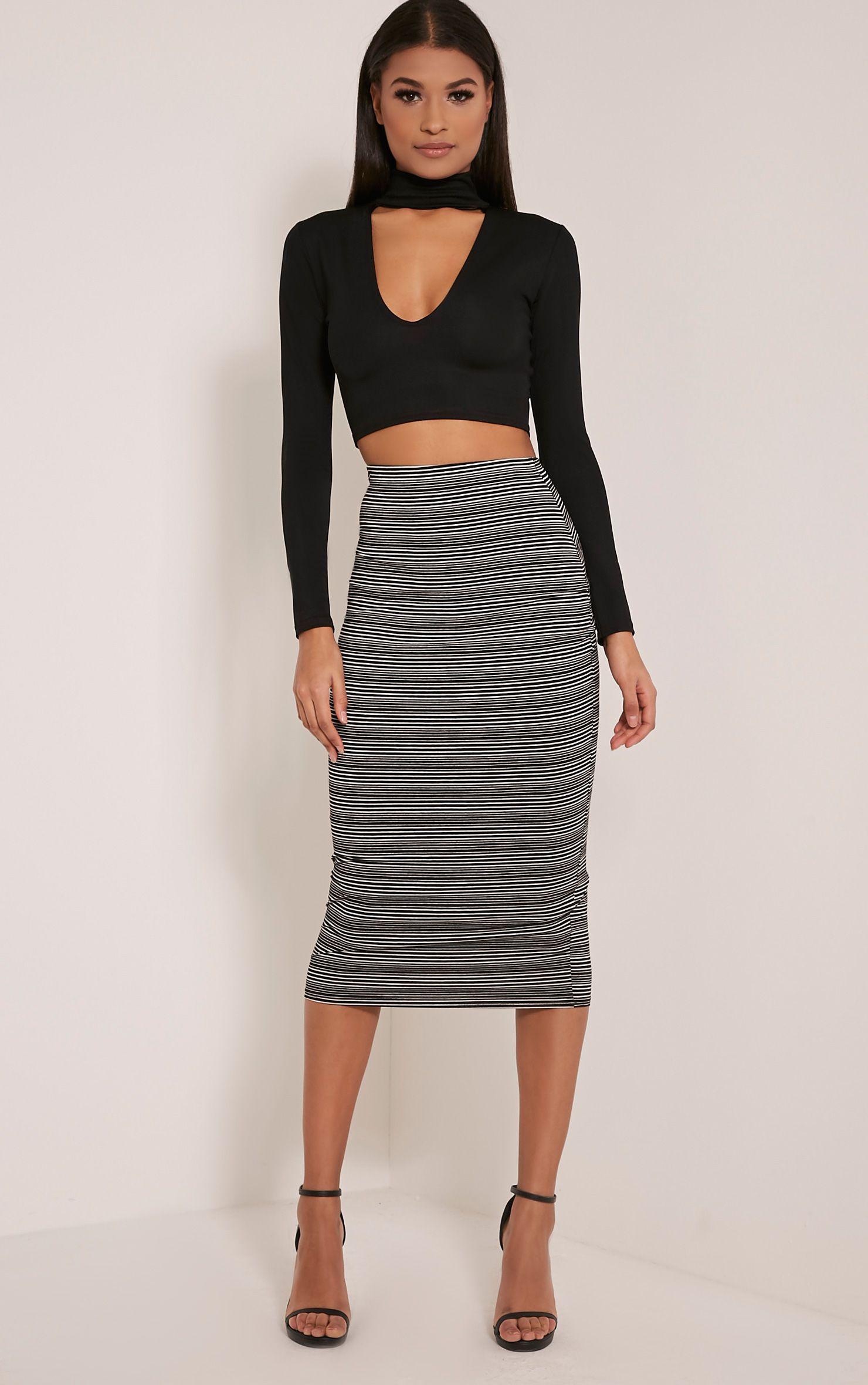 Pria Black Stripe Midi Skirt 1