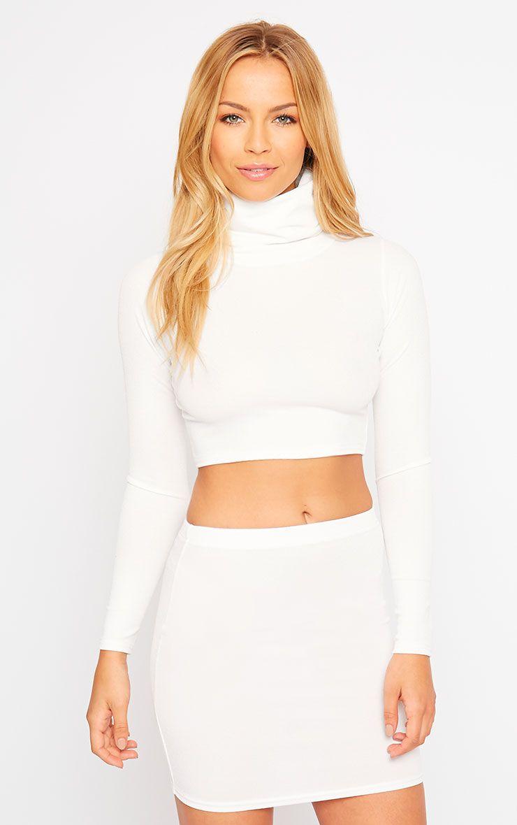 Emilia Cream Crepe Mini Skirt 1