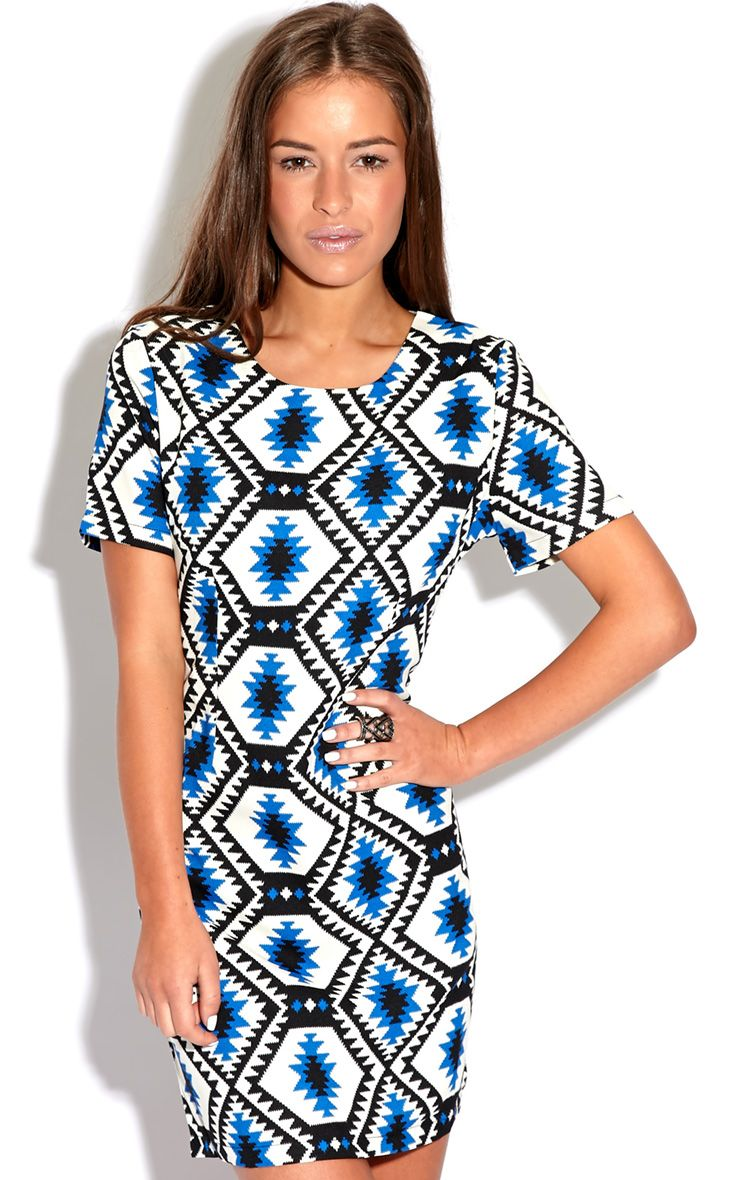 Millu Blue Aztec Print Dress-M 1