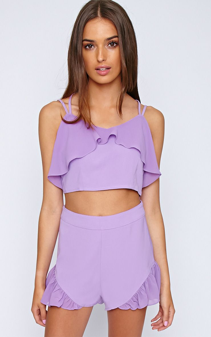Tessa Purple Chiffon Frill Crop  1