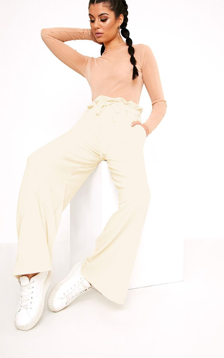 Jessey Cream Paperbag Wide Leg Trousers