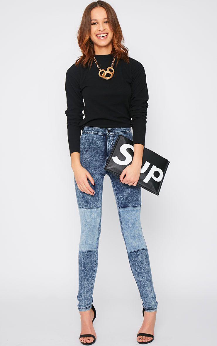 Bay Acid Wash Knee Patch Skinny Jean  1