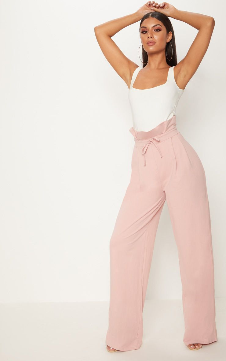 Rose Paperbag Wide Leg Trouser