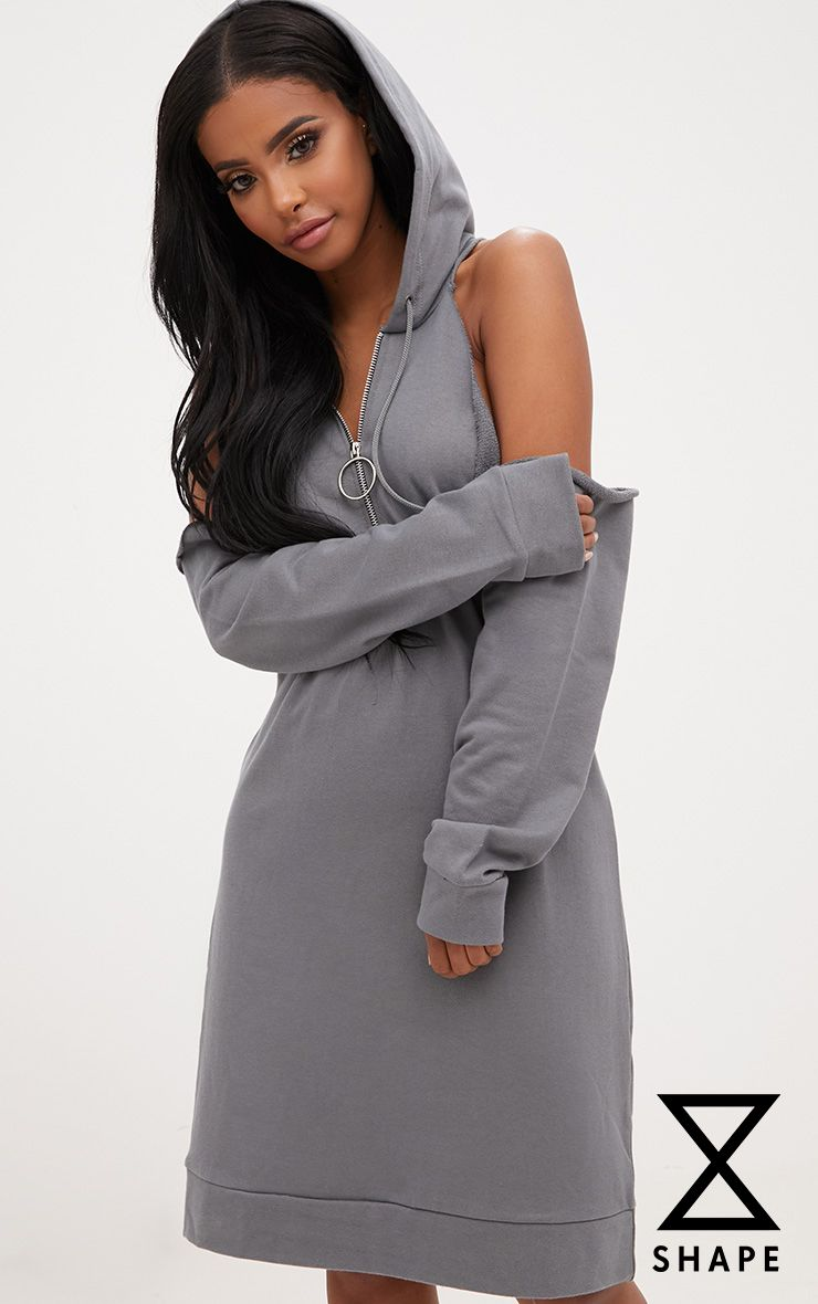 Shape Petrol Blue Cold Shoulder O Ring Jumper Dress
