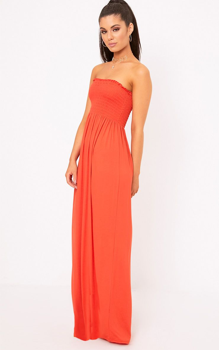 Orange Shirring Detail Bandeau Maxi Dress