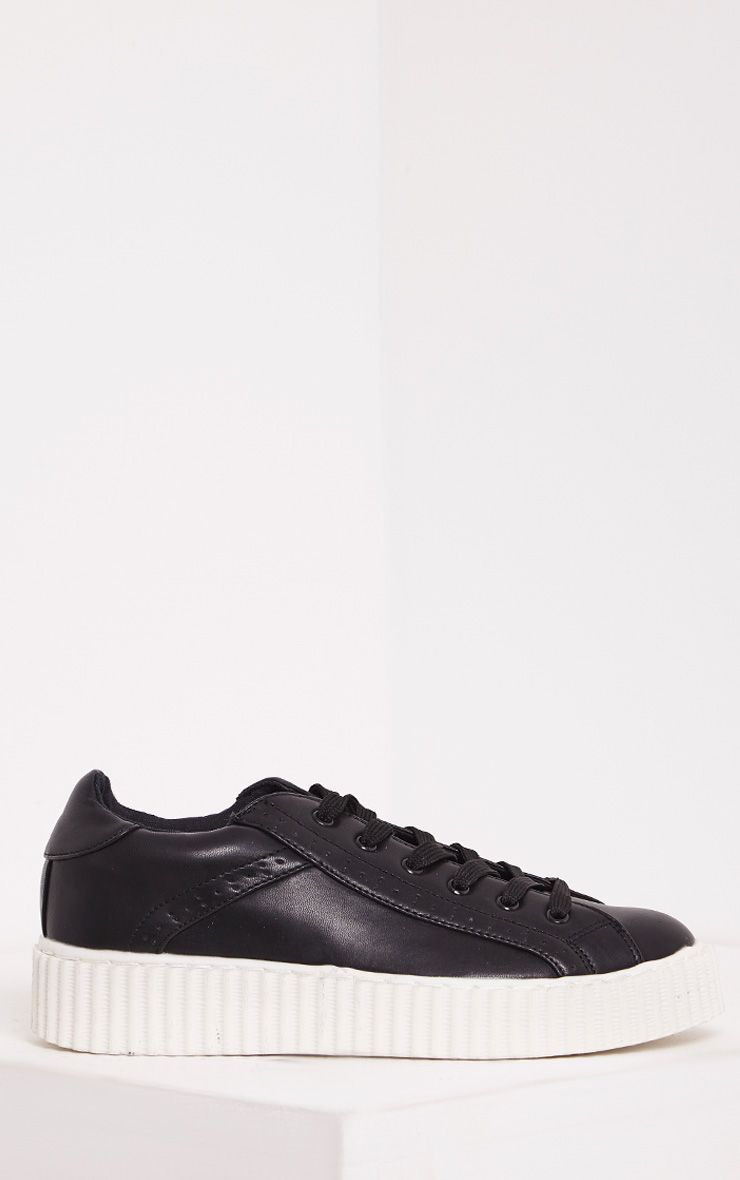 Lorena Black PU Creeper Trainers