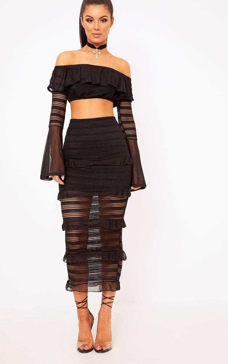 Black Tiered Frill Midaxi Skirt 1
