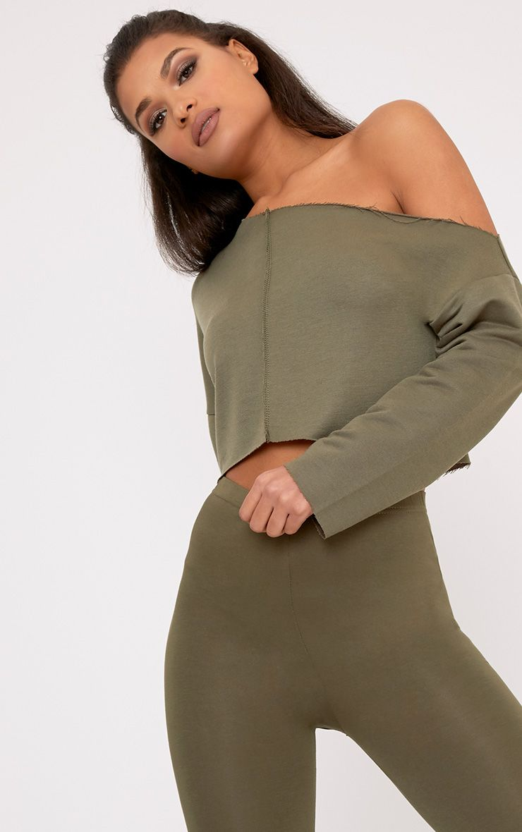 Hadley Khaki Off Shoulder Cropped Sweater 1