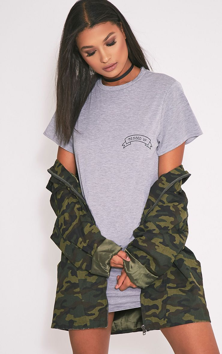 Messed Up Grey Slogan T Shirt Dress