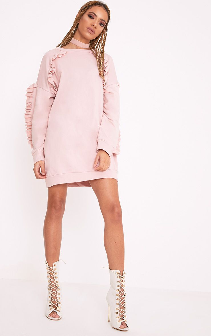 Islaa Nude Frill Detail Sweater Dress