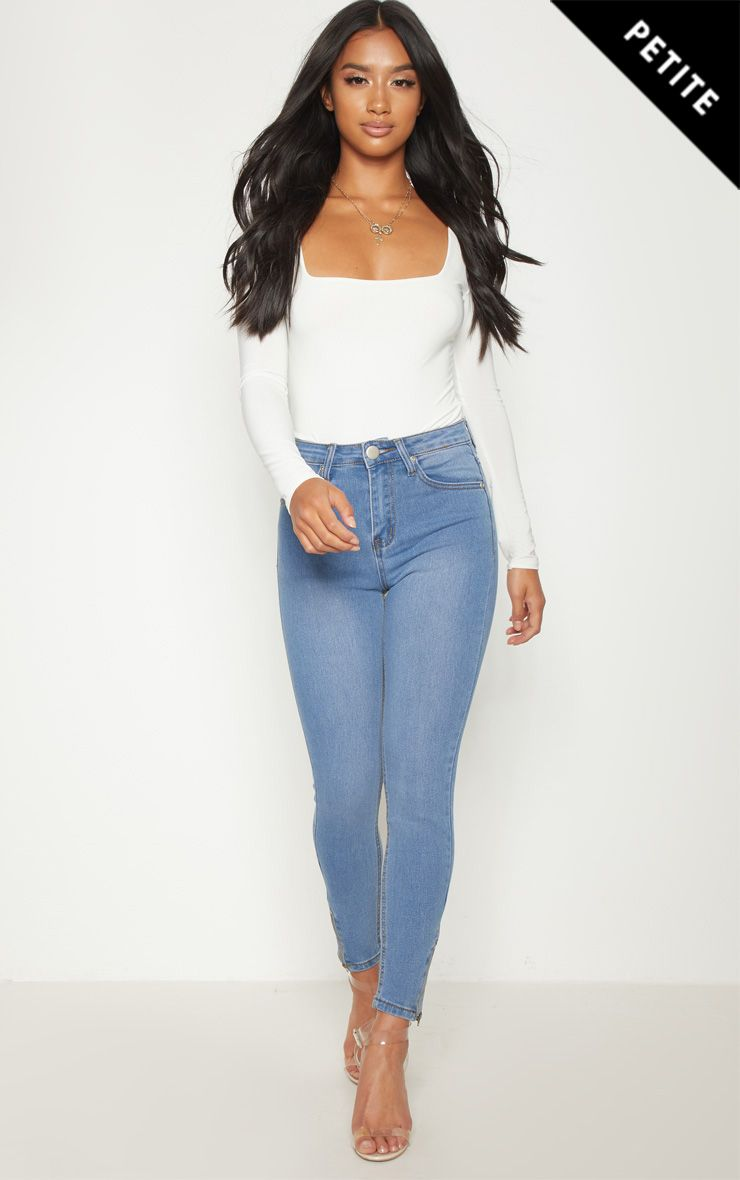 Petite Light Wash Ankle Grazer Skinny Jean