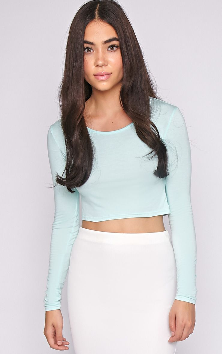 Suzy Mint Long Sleeved Crop Top 1