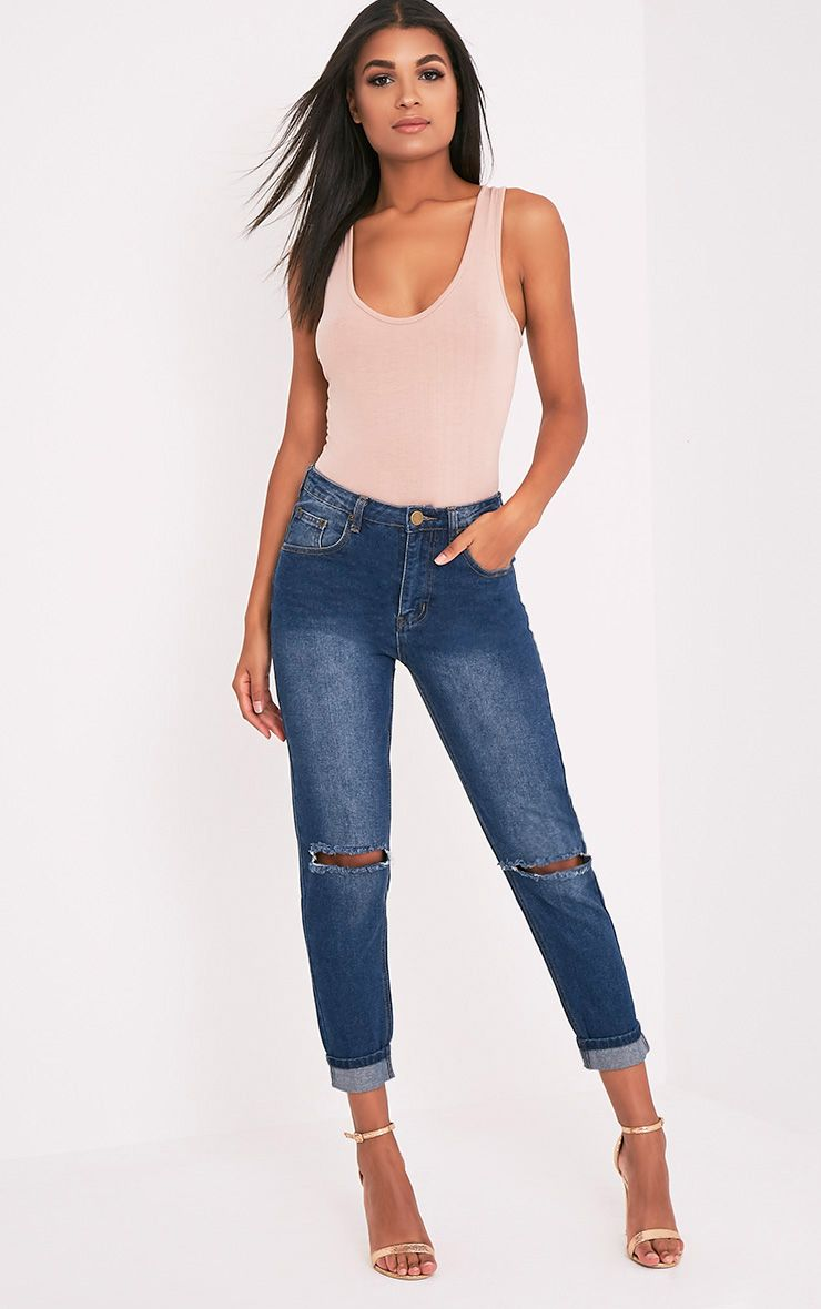Kendall Dark Wash Knee Rip Mom Jean