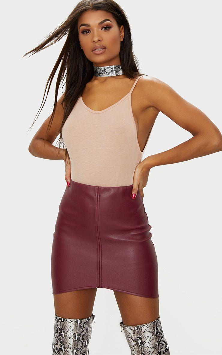 Maroon Faux Leather Asymmetric Panel Mini Skirt