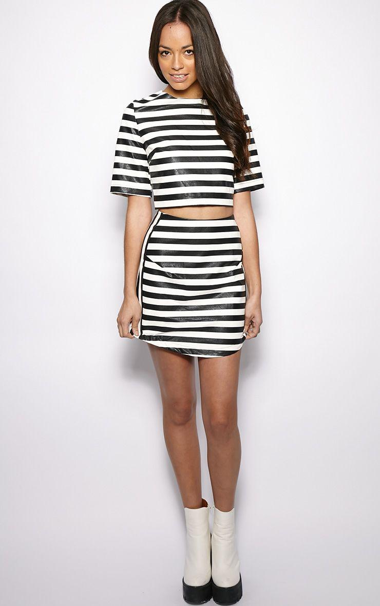 Chelsea Monochrome Leather Curved Hem Skirt  1