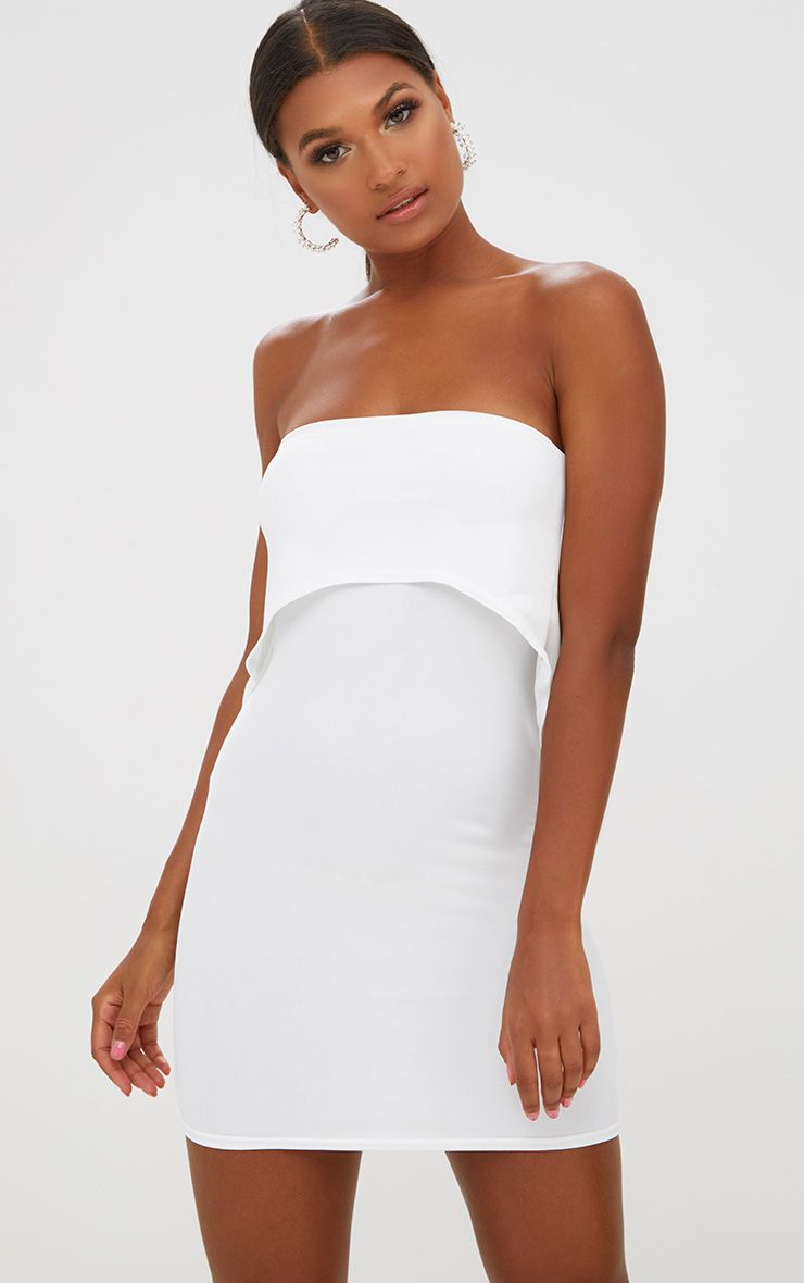 White Bandeau Overlay Bodycon Dress