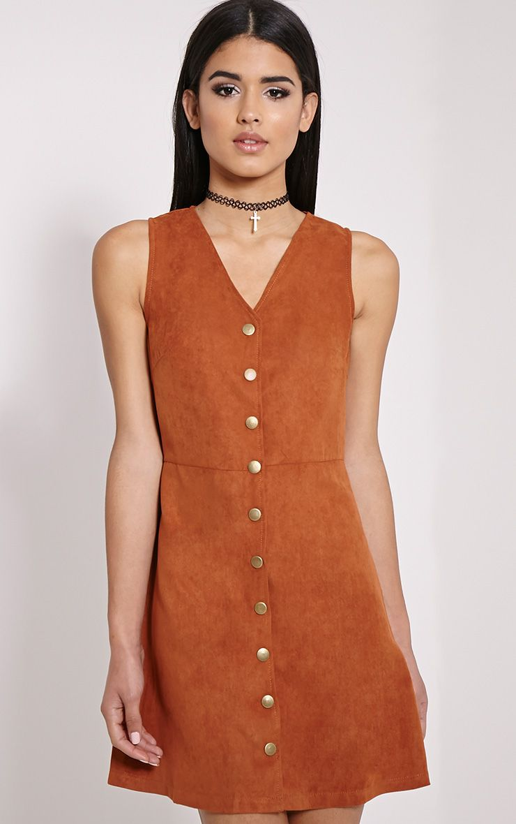 Caiden Rust Button Down Faux Suede Mini Dress 1