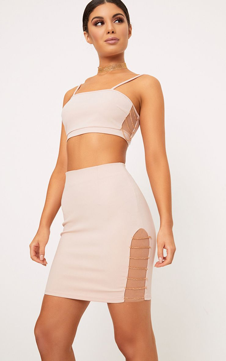 Clea Nude Chain Split Mini Skirt