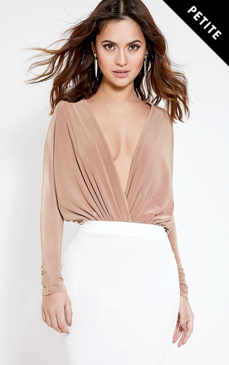 Petite Talia Camel Long Sleeve Cross Front Bodysuit