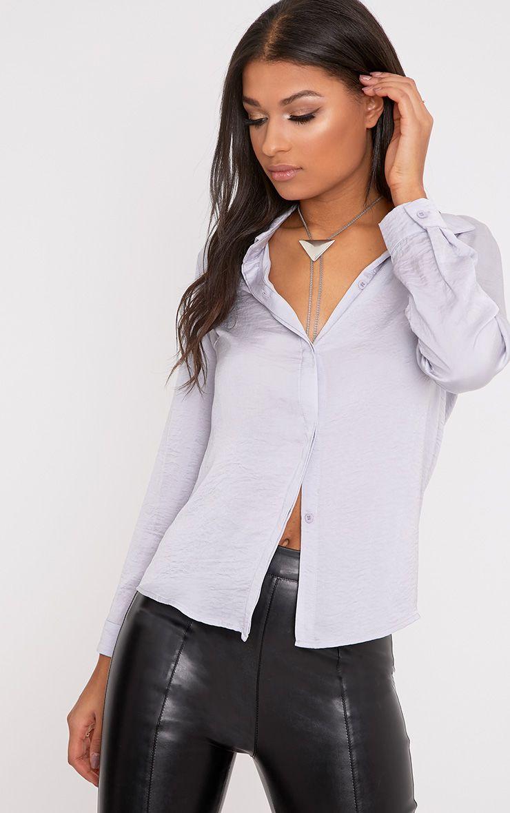 Lina Grey Satin Shirt