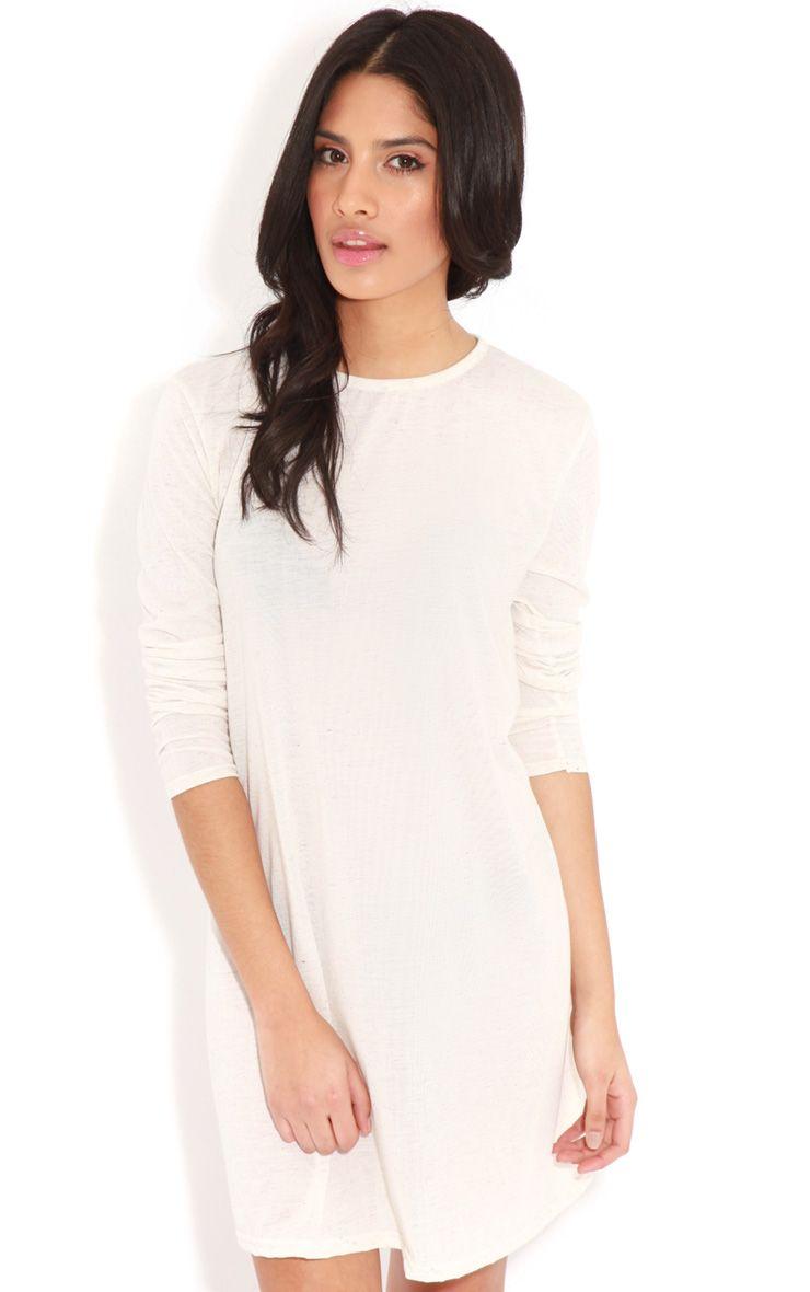 Callie Beige Long Sleeve Swing Dress 1