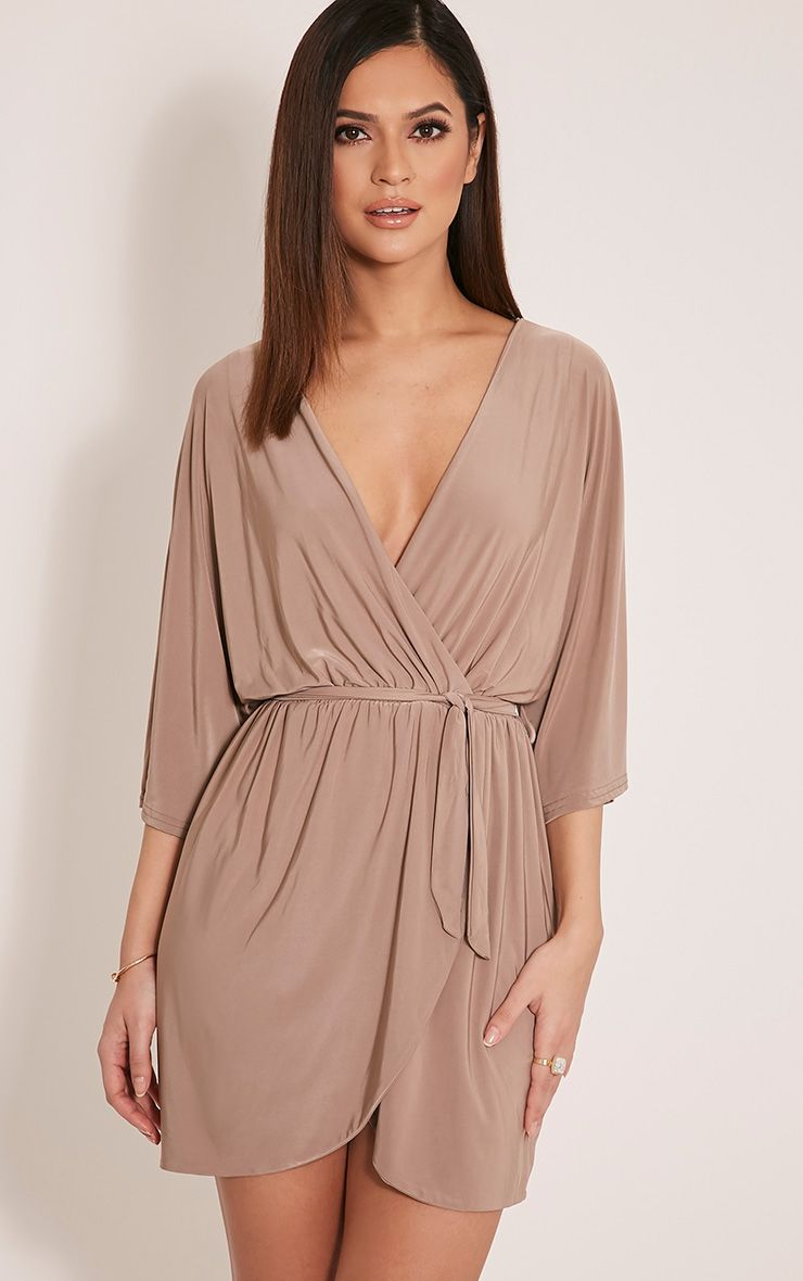 Martie Taupe Wrap Front Kimono Sleeve Mini Dress