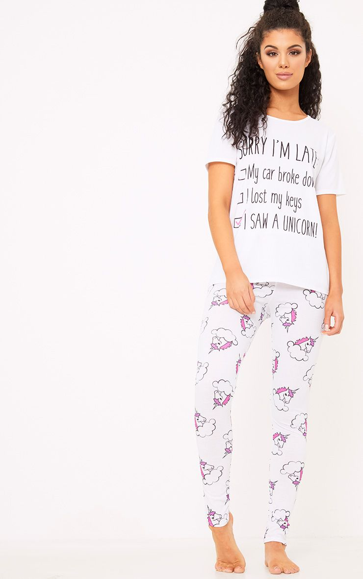 White Unicorn Print Long PJ Set