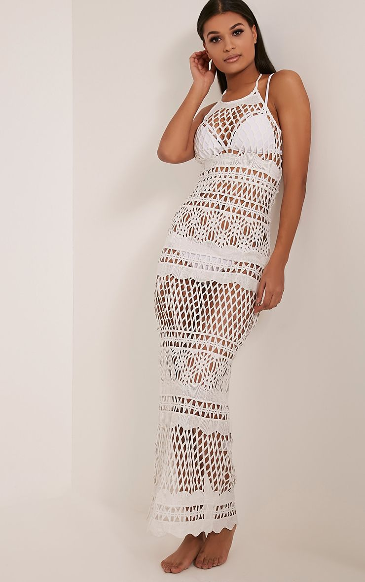 Alaya White Crochet Maxi Dress